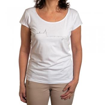 Glitzer T-Shirt mit Schloss Ort, Farbe: weiss